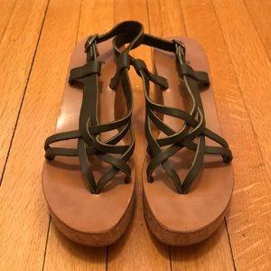 K Jacques buckle cork wedge sandal